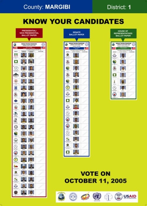 liberia poster showing ballot papers nec