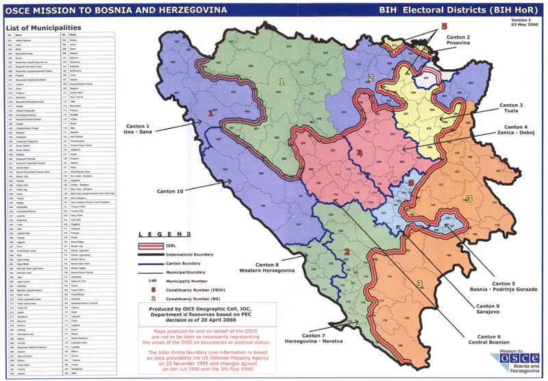 Bosnia Map of Electoral Districts 2000
